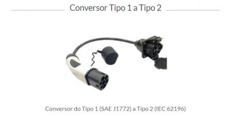 CABO CONVERSOR TOMADA TIPO 1 P/ TIPO 2 - LUGENERGY