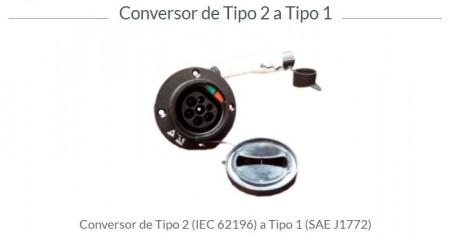 CABO CONVERSOR TOMADA TIPO 2 P/ TIPO 1 - LUGENERGY